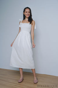 Chrysalis Smocked Maxi Dress White