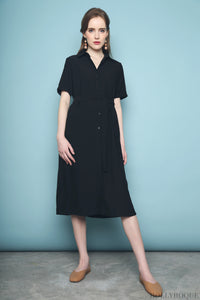 Collin Button Down Dress Black