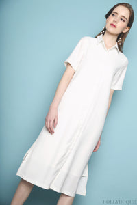 Collin Button Down Dress White