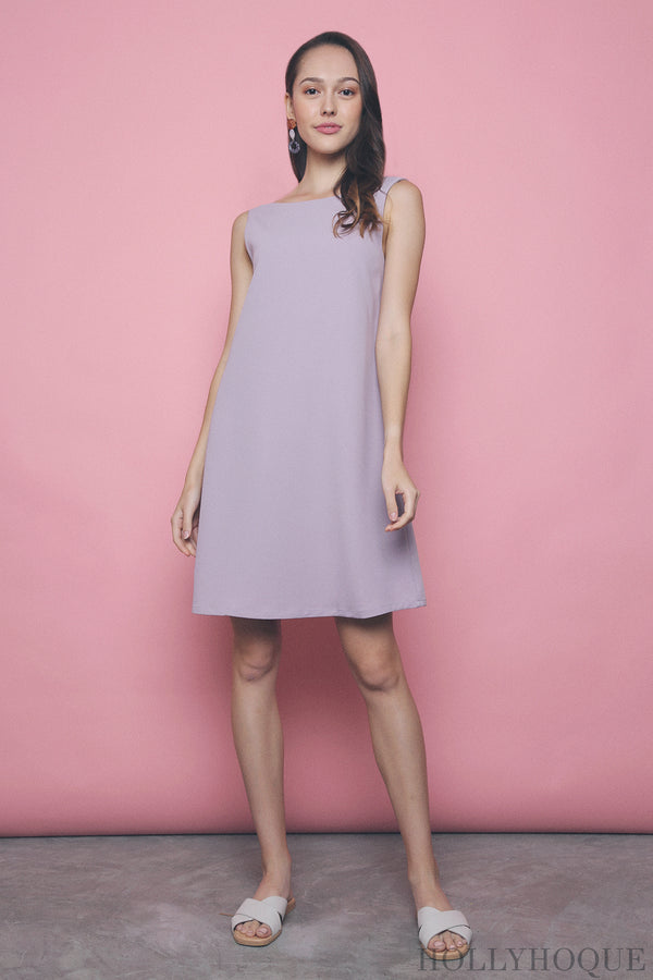 Como Boat Neck Dress Lilac