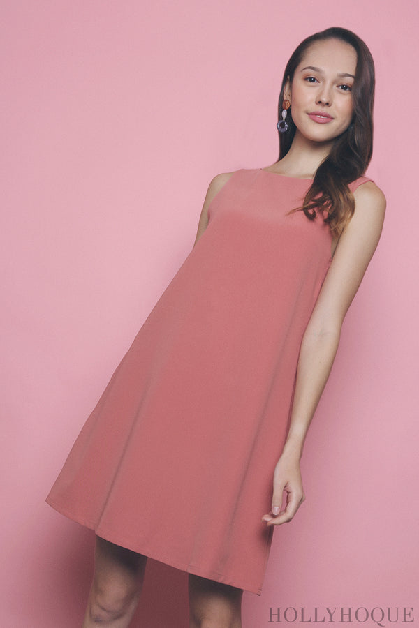 Como Boat Neck Dress Pink