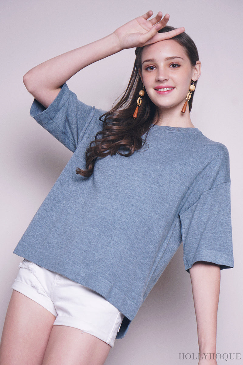 Danny Sleeves Knit Top Blue