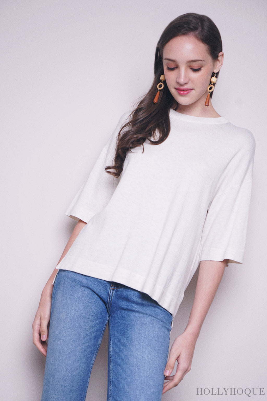 Danny Sleeves Knit Top Cream
