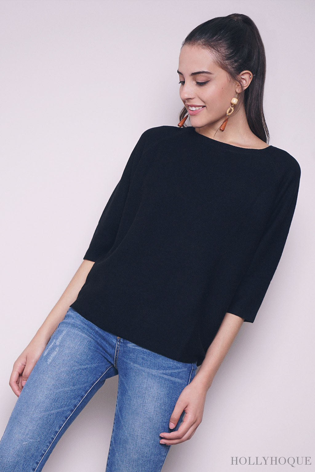 Gerber Oversized Knit Blouse Black (Restock)