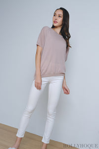 Deni Sleeves Knit Top Pink