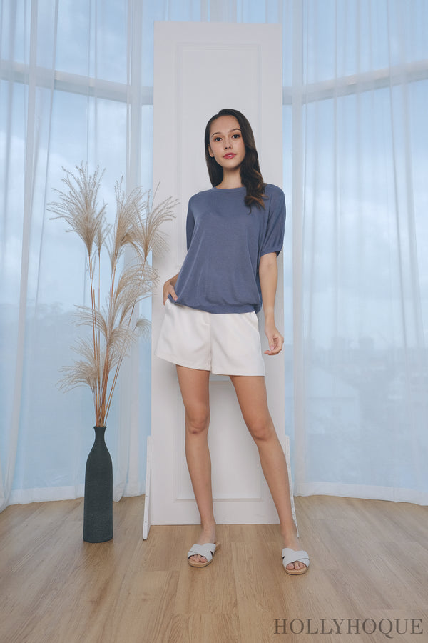 Deni Sleeves Knit Top Sky