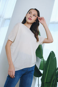 Deni Sleeves Knit Top Cream