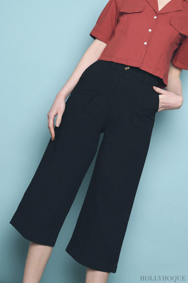 Dawson High Waist Culottes Black