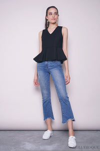 Dolce Sleeveless Peplum Blouse Black