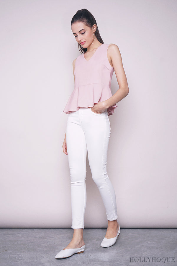 Dolce Sleeveless Peplum Blouse Dust Pink