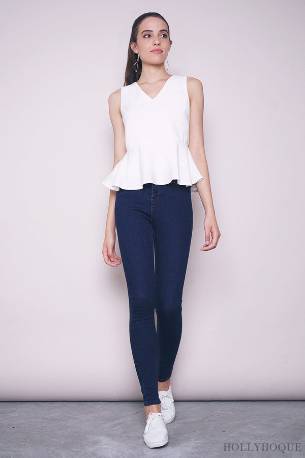Dolce Sleeveless Peplum Blouse White