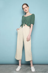 Dutti Ruched Front Top Green