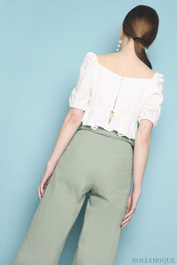 Dutti Ruched Front Top White