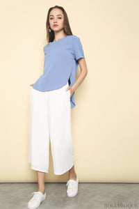 Elbion Hi Low Silk Blouse Blue