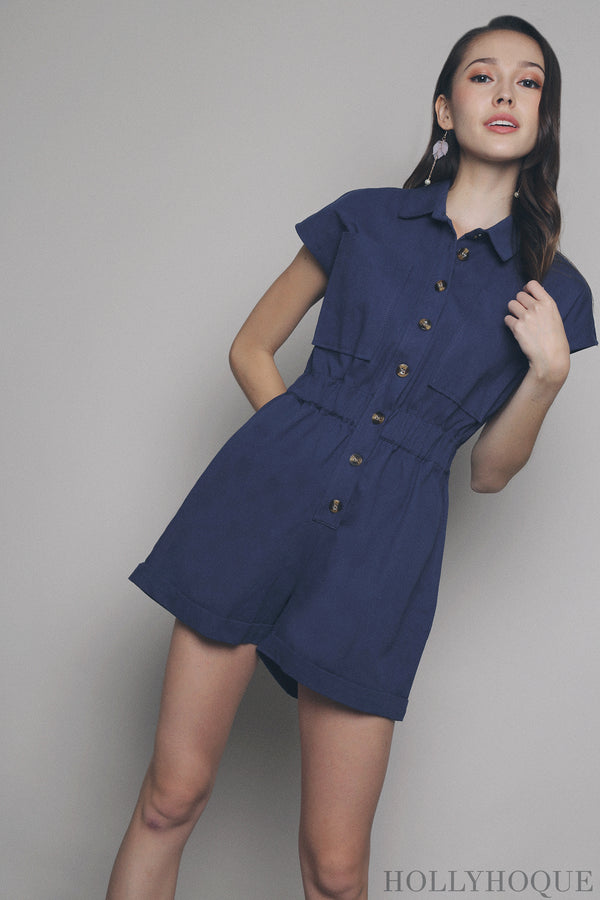 Ellio Safari Romper Royal Blue (Restock)