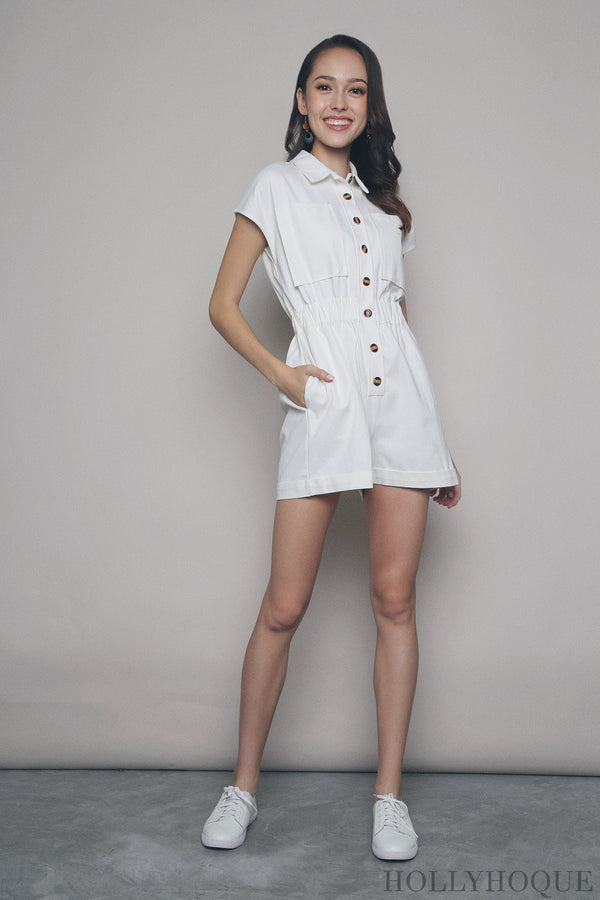 Elliot Pocket Romper White (Restock)