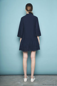 Estria Crochet Shirt Dress Navy