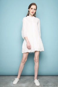 Estria Crochet Shirt Dress White
