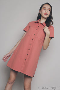 Everest Shirt Dress Salmon