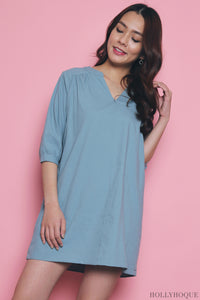 Katelyn Casual Pleat Dress Blue