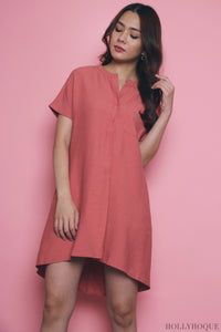 Ethel Pocket Shift Dress Tea Rose