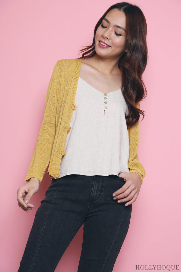 Awan Casual Knit Cardigan Sunshine