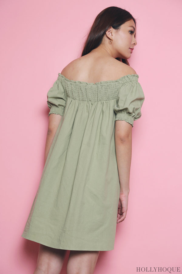Esmeralda Off Shoulder Dress Apple Mint