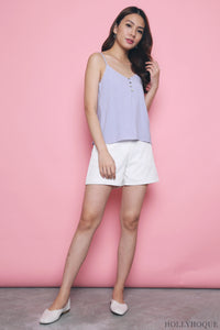 Flynn Strappy Linen Top Lilac