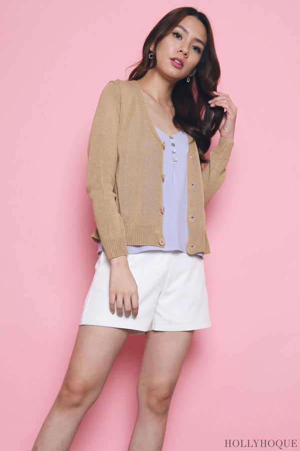 Awan Casual Knit Cardigan Sand
