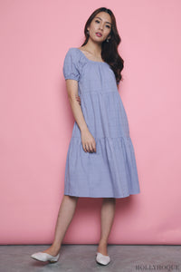 Palmer Square Neck Midi Dress Lilac Sky