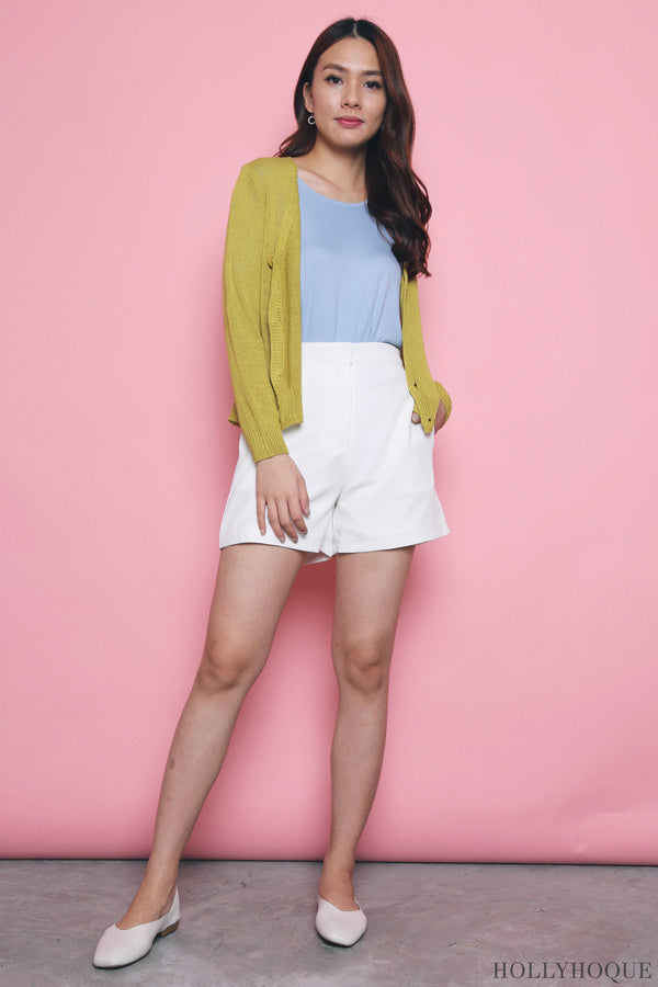 Awan Casual Knit Cardigan Lime