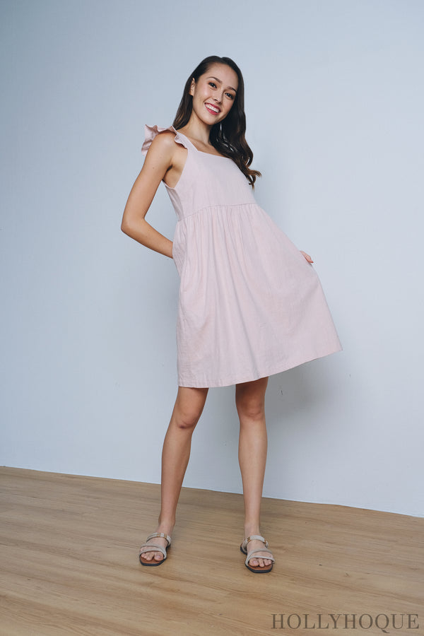 Freda Flutter Babydoll Dress Dust Pink