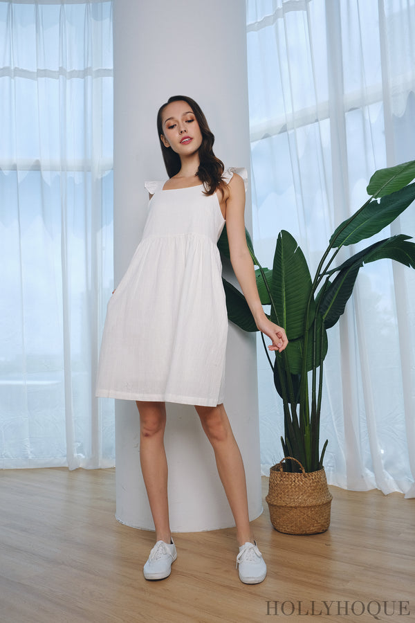 Freda Flutter Babydoll Dress White