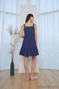 Helix Eyelet Babydoll Dress Navy