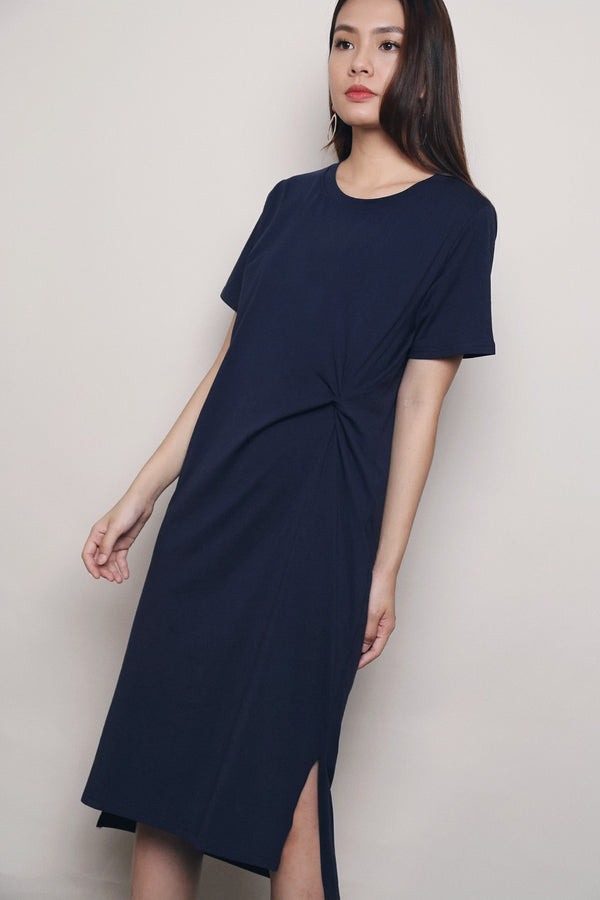 Daphy Knot Midi Dress Navy