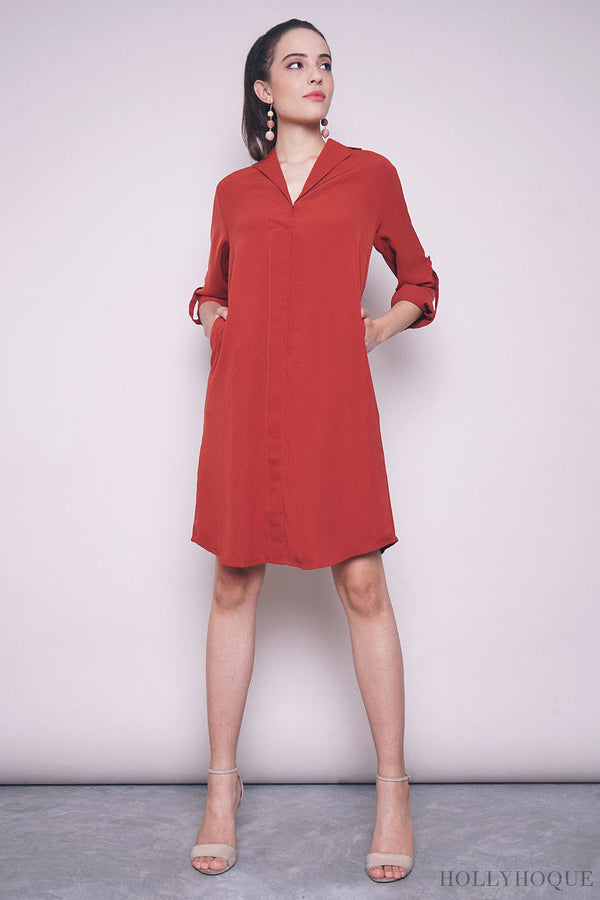Juleen Sleeves Shift Dress Brick