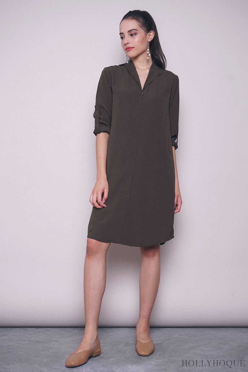 Juleen Sleeves Shift Dress Olive
