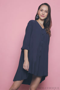 Joal Pleat Back Shirt Dress Navy