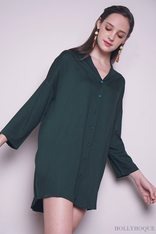 Kate Shirt Dress Emerald