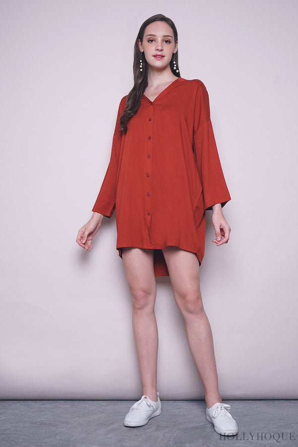 Kate Shirt Dress Rust