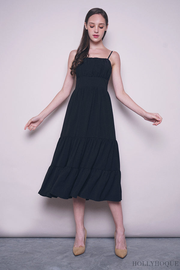 Kenzie Ruche Maxi Dress Black