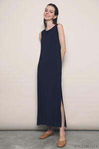 Kilda Jersey Slit Midi Dress Navy