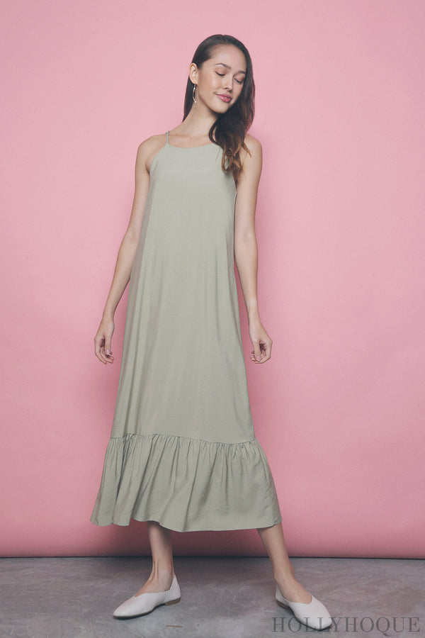 Laurel Peplum Midi Dress Honeydew