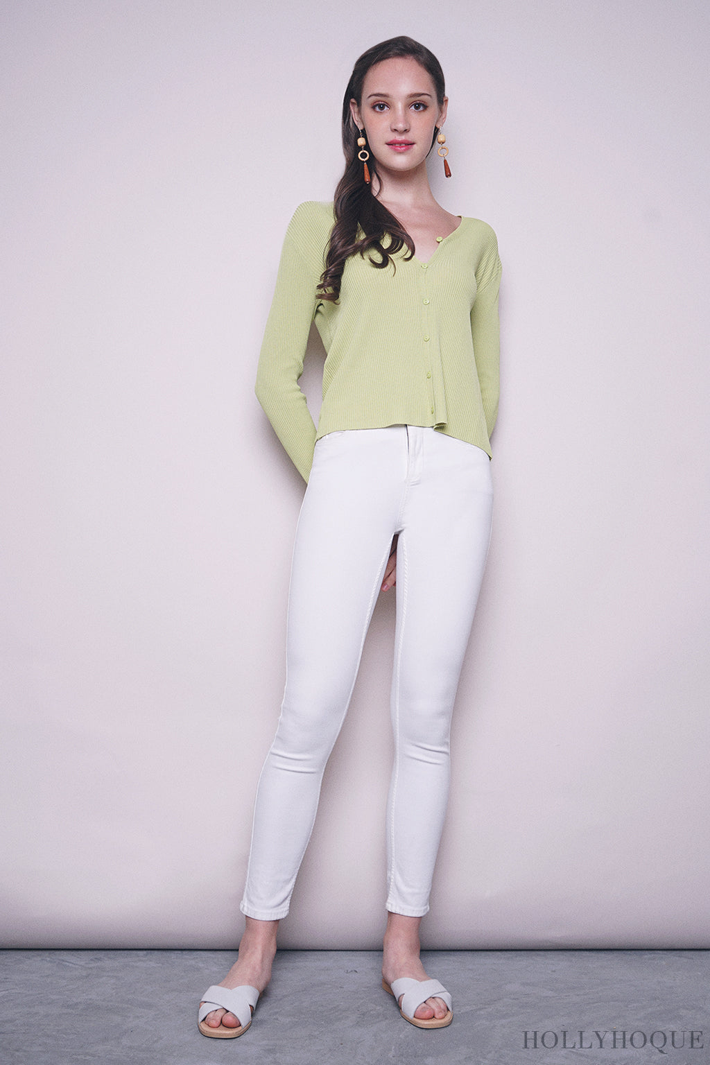 Laurinda Basic Cardigan Muted Green