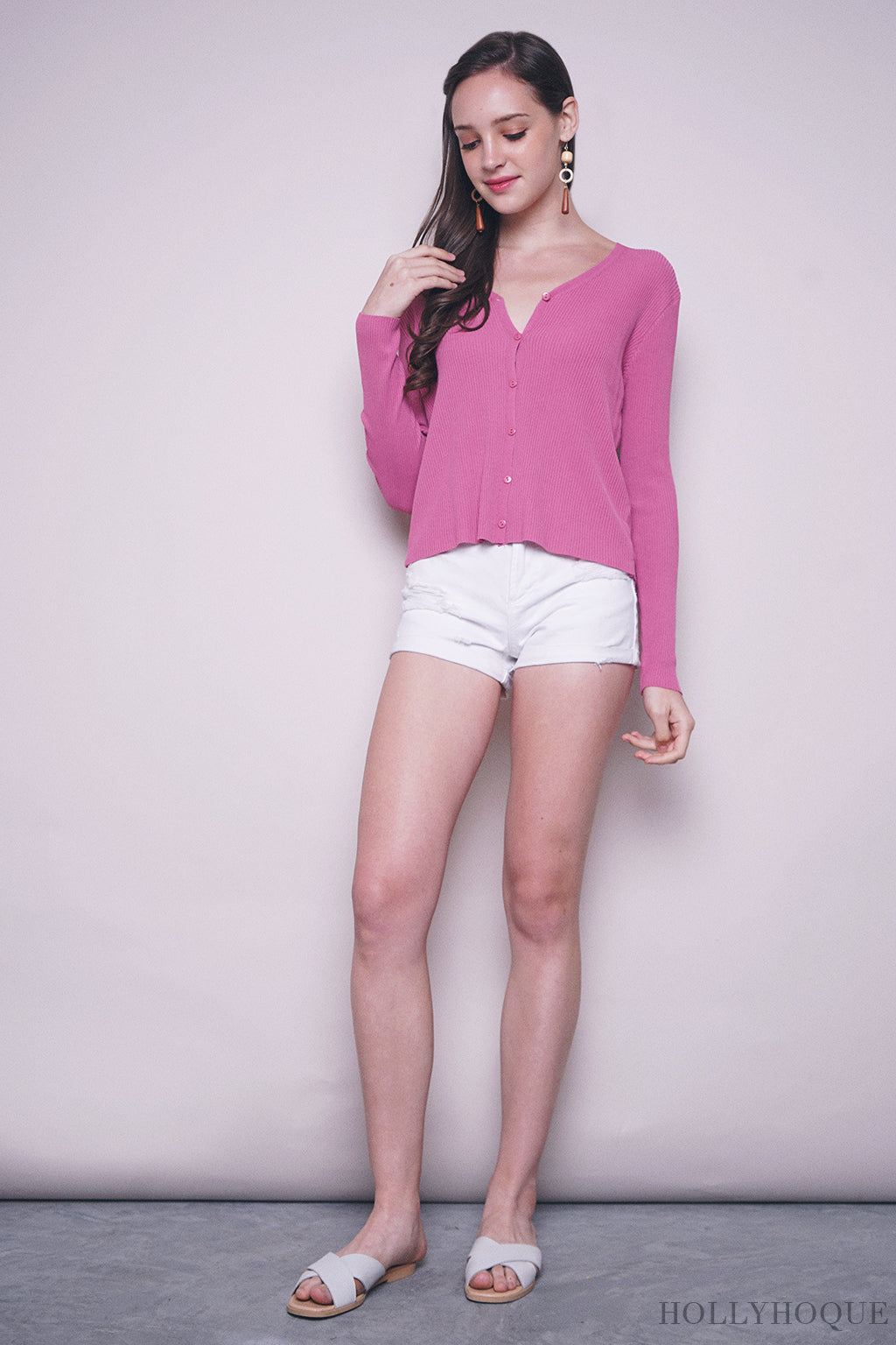 Laurinda Basic Cardigan Pink