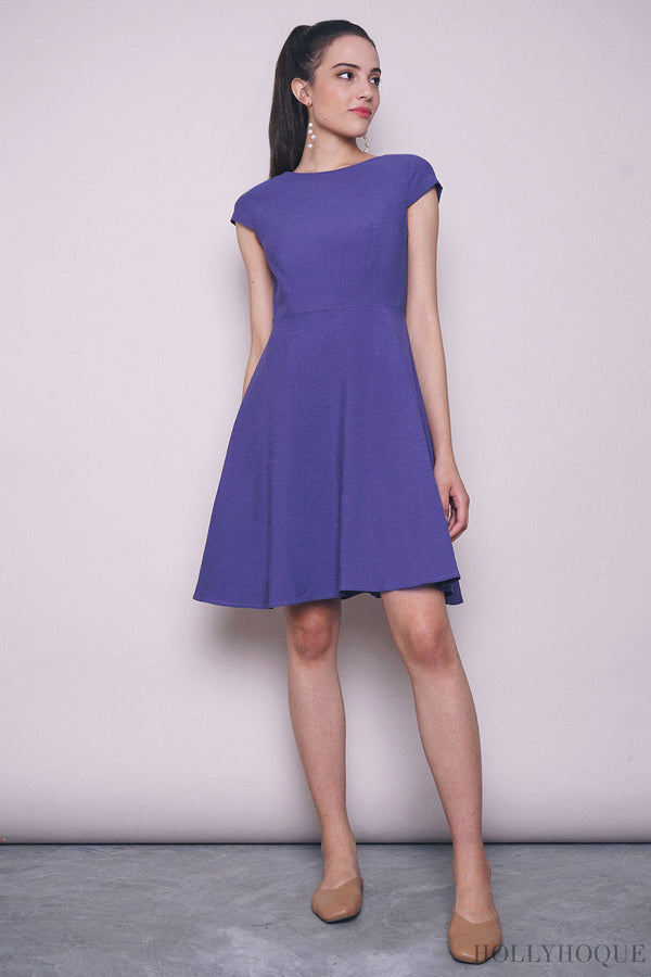 Lilia Boat Neck Twirl Dress Burple