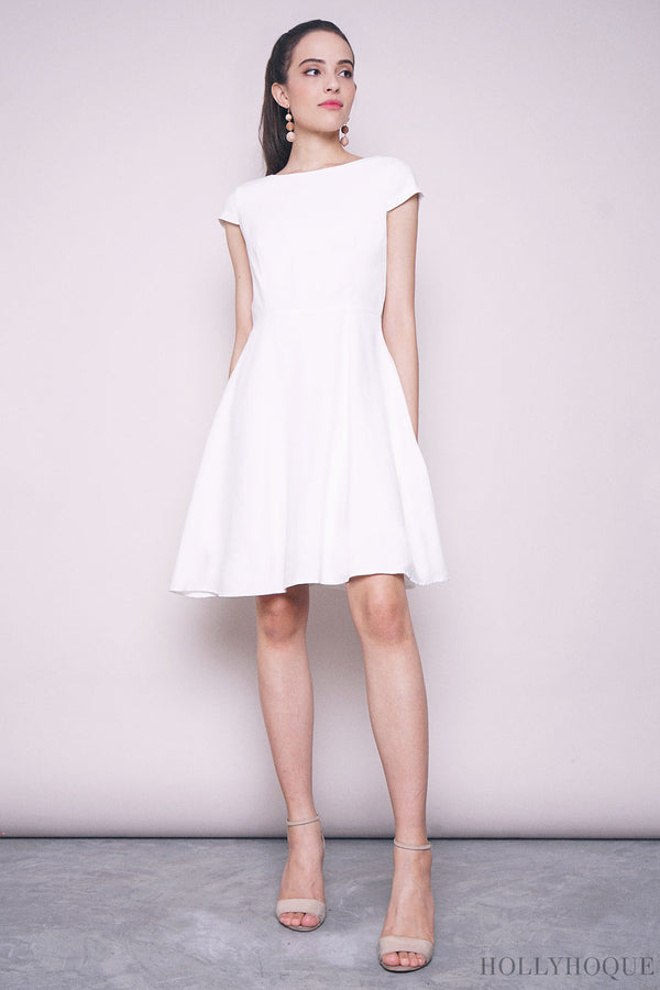 Lilia Boat Neck Twirl Dress White