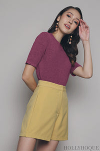 Loki Basic Knit Blouse Plum
