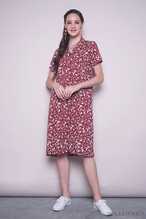 Magnolia Button Down Dress Maroon