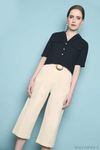 Military Pocket Cropped Shirt Black